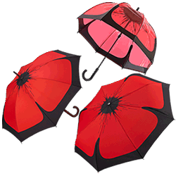 Three Poppy Umbrellas: telescopic, standard walking length and golf.