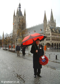 Lt Col Graham Parker OBE (Retired) in Ypres, Belgium, with The Poppy Umbrella.