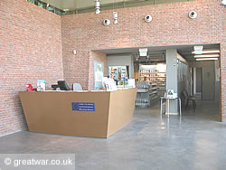 Shop and reception at the Thiepval Visitor Centre on the Somme battlefields.